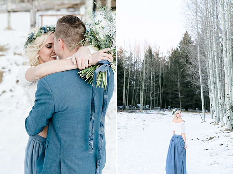Bride Lace Off The Shoulder Top Blue Long Skirt Floral Crown Bouquet White Blue Green Flowers Groom Blue Suit Snowy Winter Wonderland Anniversary Shoot http://ryannlindseyphotography.com/