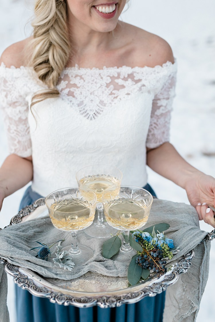 Bride White Lace Off The Shoulder Top Blue Long Skirt Antique Silver Tray Florals Cocktails Snowy Winter Wonderland Anniversary Shoot http://ryannlindseyphotography.com/