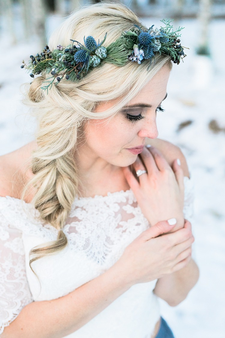 Bride White Lace Off The Shoulder Top Blue Long Skirt Floral Crown Engagement Wedding Rings Snowy Winter Wonderland Anniversary Shoot http://ryannlindseyphotography.com/