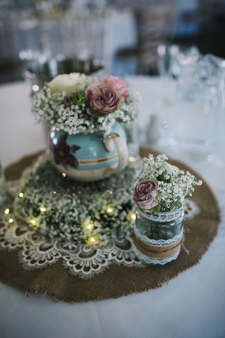 Decor Centrepiece Hessian Lace Jar Teapot Flowers Mint Green Natural Wedding https://www.kerrywoodsphotography.com/