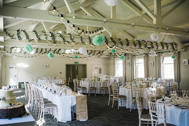 Festoon Lights Pom Poms Decor Mint Green Natural Wedding https://www.kerrywoodsphotography.com/