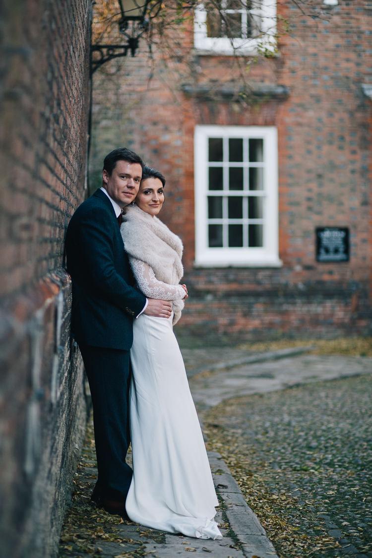 Lace Sleeves Cowl Dress Gown Bride Bridal Regency Suzanne Neville Elegant Cosy Winter Wedding http://www.traversandbrown.co.uk/