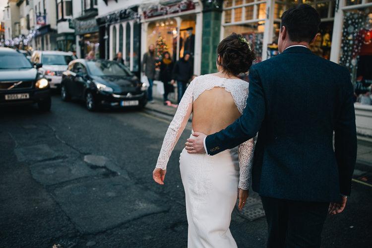 Lace Sleeves Cowl Dress Gown Bride Bridal Regency Suzanne Neville Open Back Elegant Cosy Winter Wedding http://www.traversandbrown.co.uk/