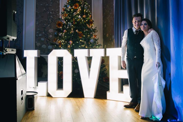 LOVE Letter Lights Elegant Cosy Winter Wedding http://www.traversandbrown.co.uk/