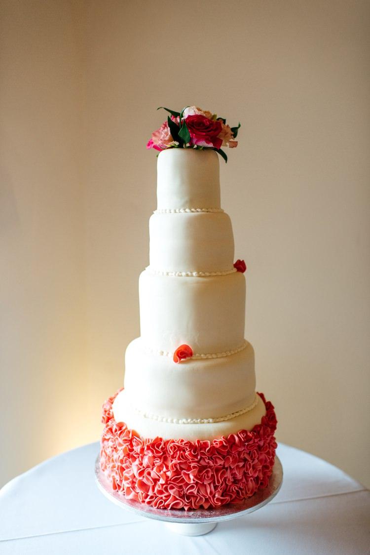 Tall Cake Pink Ruffles Flowers Elegant Stylish Floral Wedding http://www.jordannamarston.com/