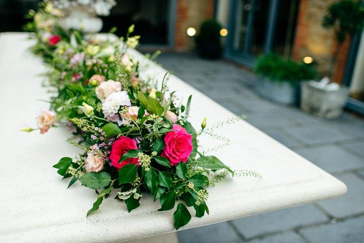 Flower Floral Garland Foliage Roses Pink Elegant Stylish Floral Wedding http://www.jordannamarston.com/