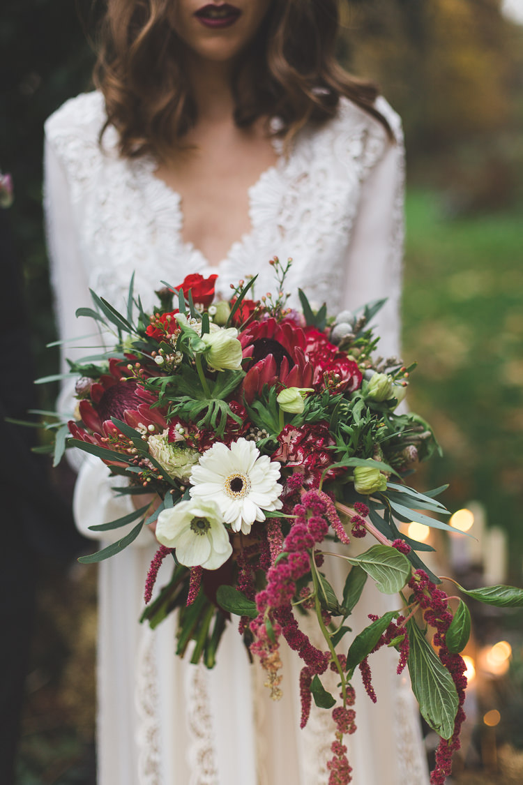 Bouquet Flowers Bride Bridal Red Greenery Foliage Protea Large Trailing Magical Autumn Outdoorsy Woodland Wedding Ideas http://kirstymackenziephotography.co.uk/