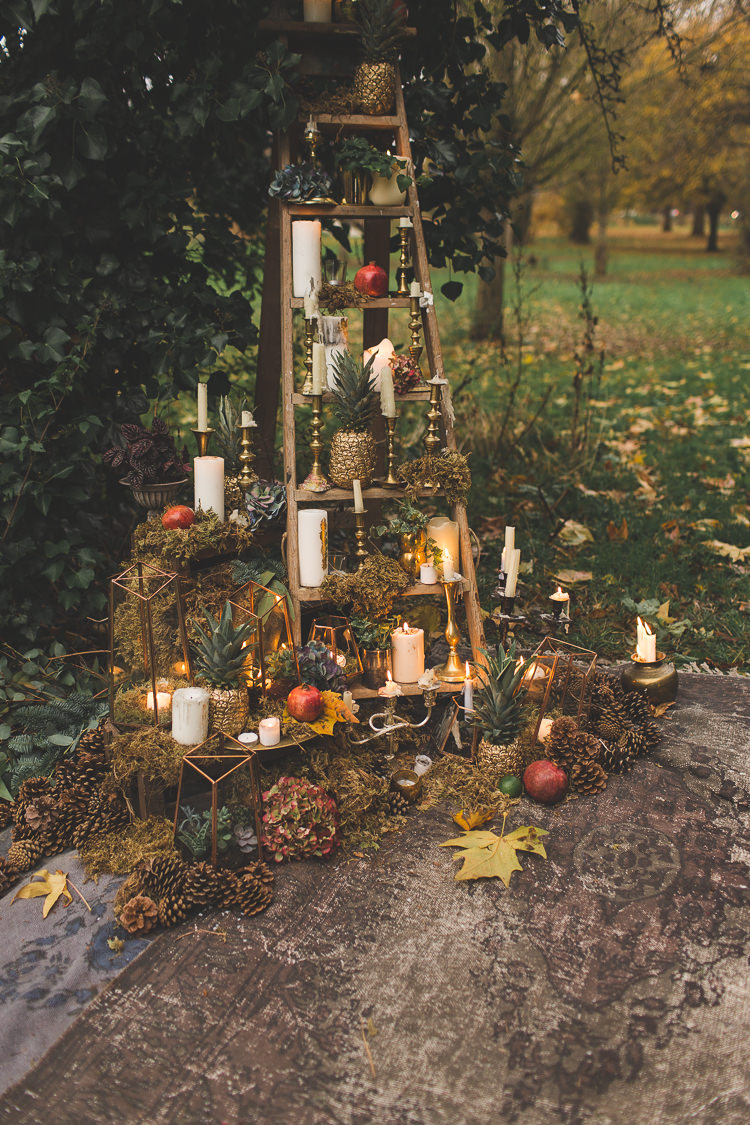 Ladder Decor Candles Fruit Flowers Red Orange Rustic Magical Autumn Outdoorsy Woodland Wedding Ideas http://kirstymackenziephotography.co.uk/