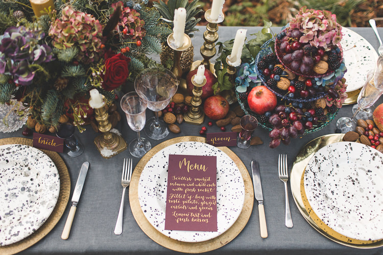 Tablescape Decor Flowers Fruit Place Setting Stationery Red Gold Greenery Magical Autumn Outdoorsy Woodland Wedding Ideas http://kirstymackenziephotography.co.uk/