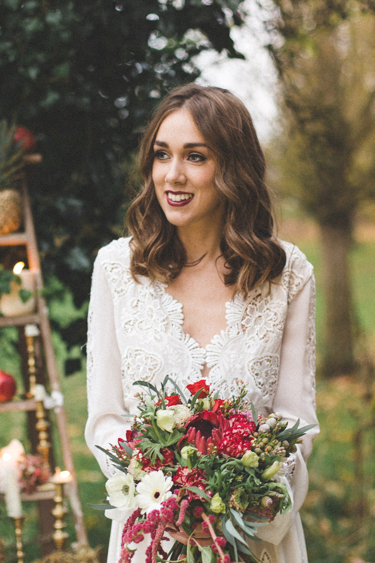 Hair Waves Mid Style Bride Bridal Magical Autumn Outdoorsy Woodland Wedding Ideas http://kirstymackenziephotography.co.uk/