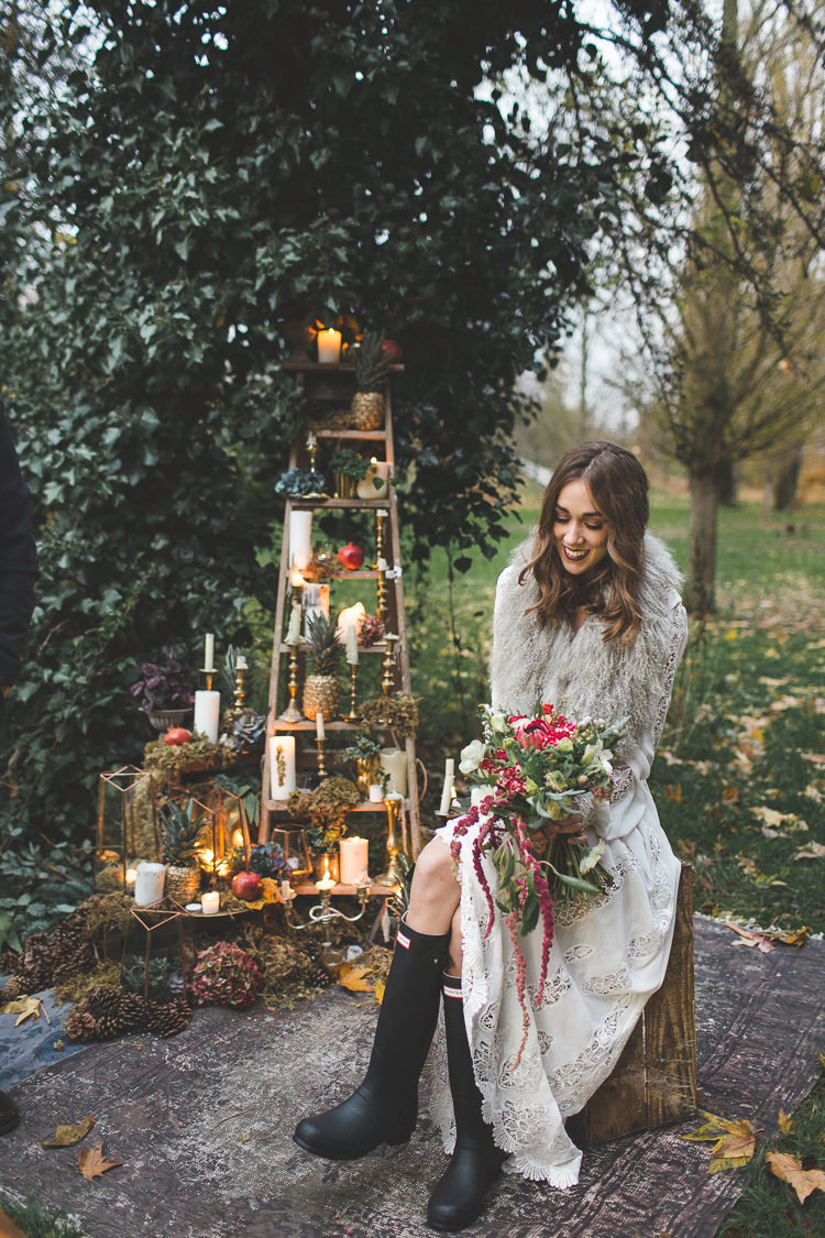 Hunter Wellies Bride Bridal 70s Dress Cape Magical Autumn Outdoorsy Woodland Wedding Ideas http://kirstymackenziephotography.co.uk/
