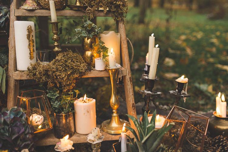 Ladder Decor Candles Fruit Flowers Red Orange Rustic Magical Autumn Outdoorsy Woodland Wedding Ideas http://kirstymackenziephotography.co.uk/