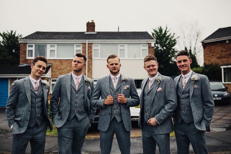Grey Tweed Groomsmen Suits Pink Ties Quirky Crafty Rustic Barn Wedding http://www.stevebridgwoodphotography.co.uk/
