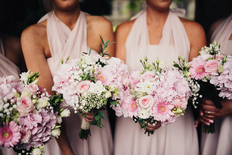 Bridesmaids Bouquets Flowers Pink Rose Gerbera Quirky Crafty Rustic Barn Wedding http://www.stevebridgwoodphotography.co.uk/