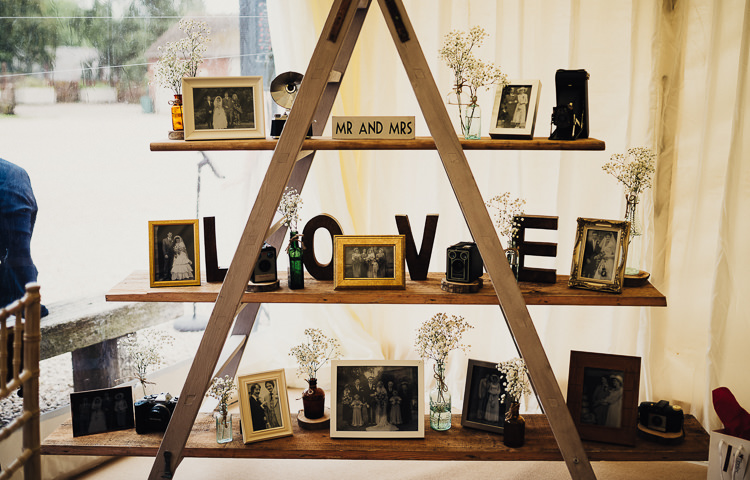 Ladder Decor Photographs Letters Sign Quirky Crafty Rustic Barn Wedding http://www.stevebridgwoodphotography.co.uk/