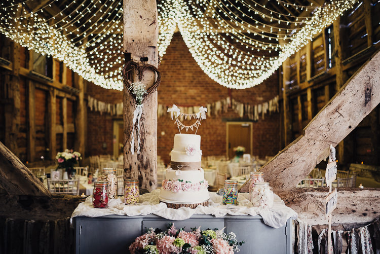 Cake Table Dresser Furniture Fairy Lights Decor Quirky Crafty Rustic Barn Wedding http://www.stevebridgwoodphotography.co.uk/
