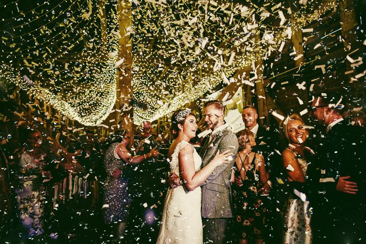 Confetti Bomb First Dance Quirky Crafty Rustic Barn Wedding http://www.stevebridgwoodphotography.co.uk/