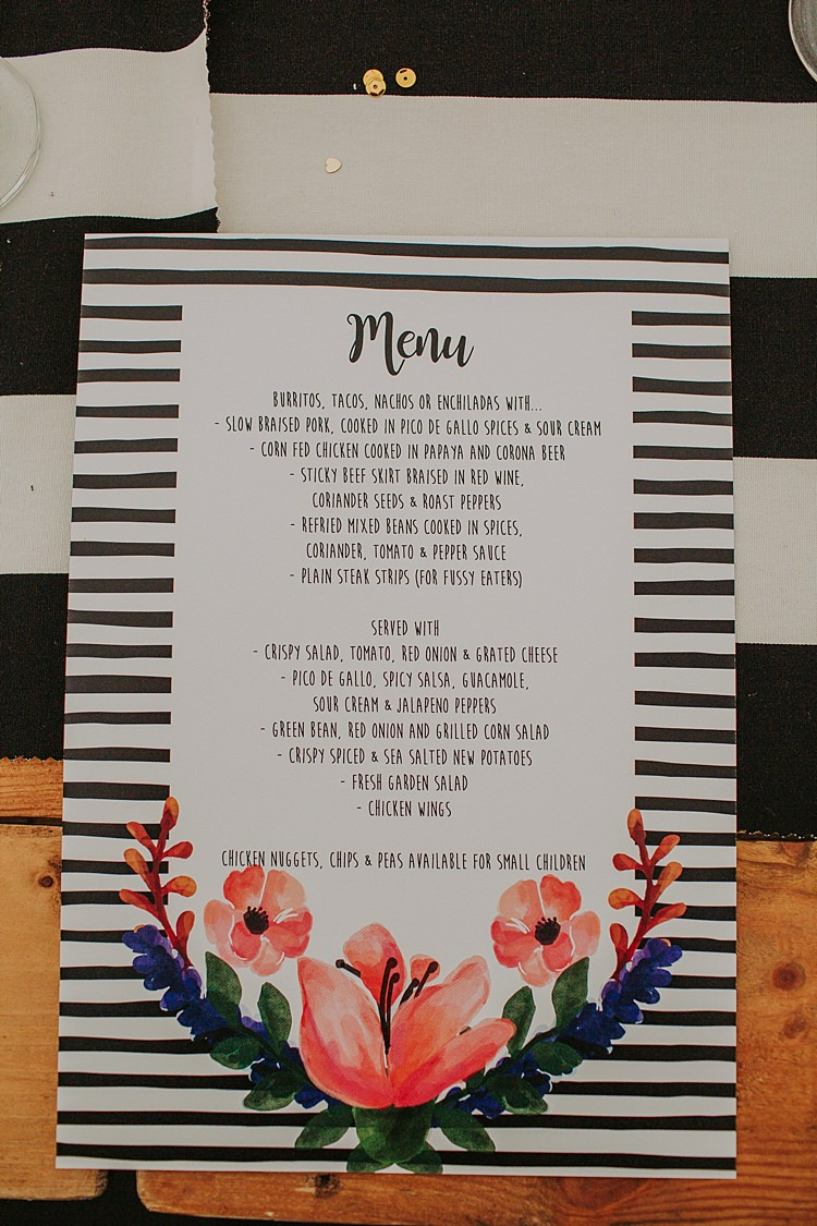 Black White Monochrome Stripe Stationery Floral Colourful Indie Dinosaur Wedding http://bloomweddings.co.uk/
