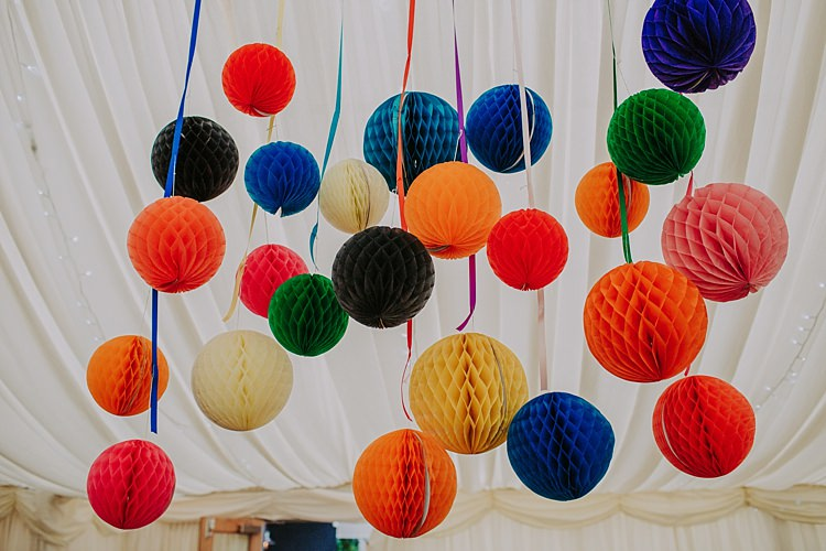 Rainbow Lanterns Colourful Indie Dinosaur Wedding http://bloomweddings.co.uk/