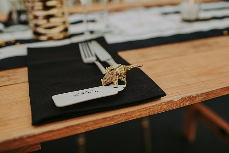 Glitter Gold Decor Place Name Setting Colourful Indie Dinosaur Wedding http://bloomweddings.co.uk/