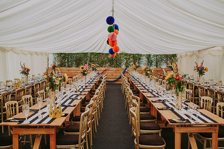 Rainbow Marquee Colourful Indie Dinosaur Wedding http://bloomweddings.co.uk/