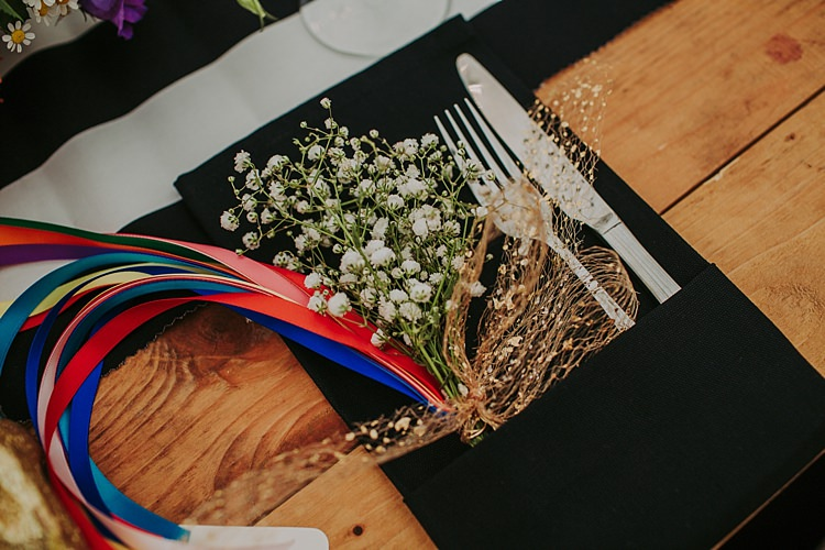 Flowers Ribbon Place Setting Decor Colourful Indie Dinosaur Wedding http://bloomweddings.co.uk/