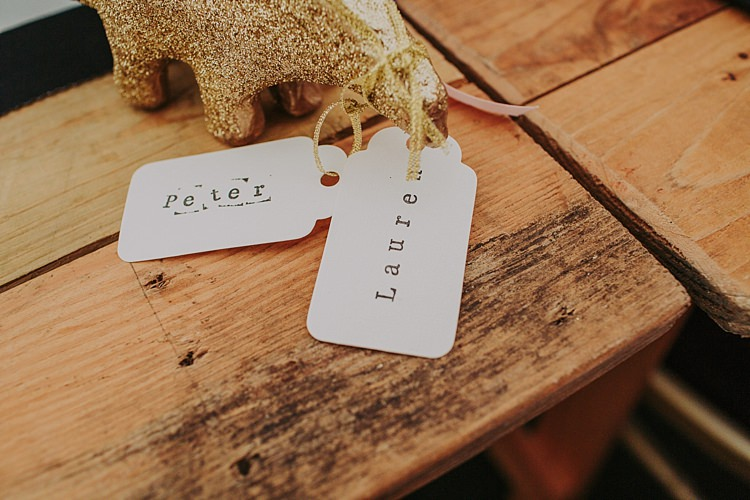 Glitter Gold Luggage Tag Place Name Decor Colourful Indie Dinosaur Wedding http://bloomweddings.co.uk/