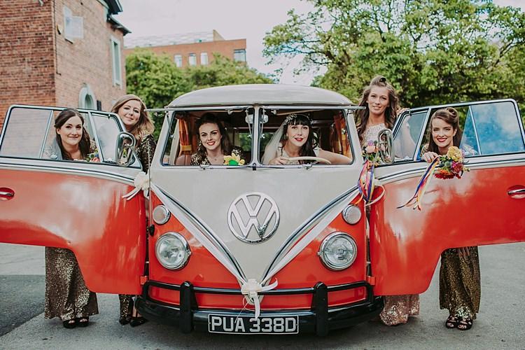 VW Camper Van Colourful Indie Dinosaur Wedding http://bloomweddings.co.uk/