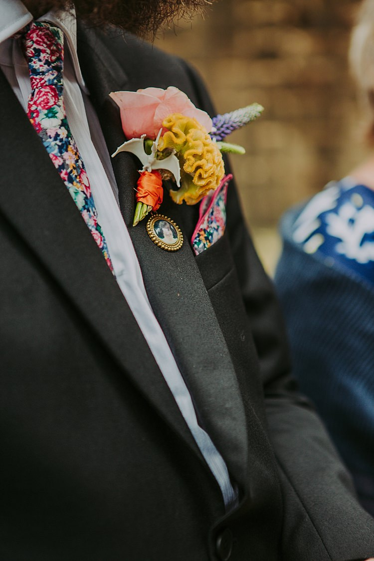 Groom Buttonhole Quirky Flowers Alternative Colourful Indie Dinosaur Wedding http://bloomweddings.co.uk/