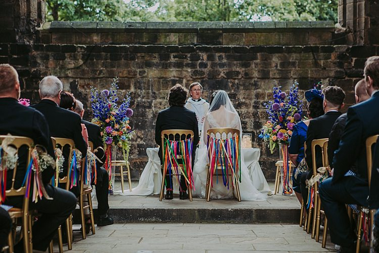 Ribbon Chairs Aisle Flowers Pew Ends Colourful Indie Dinosaur Wedding http://bloomweddings.co.uk/