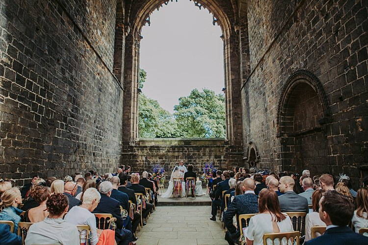 Kirkstall Abbey Ceremony Colourful Indie Dinosaur Wedding http://bloomweddings.co.uk/