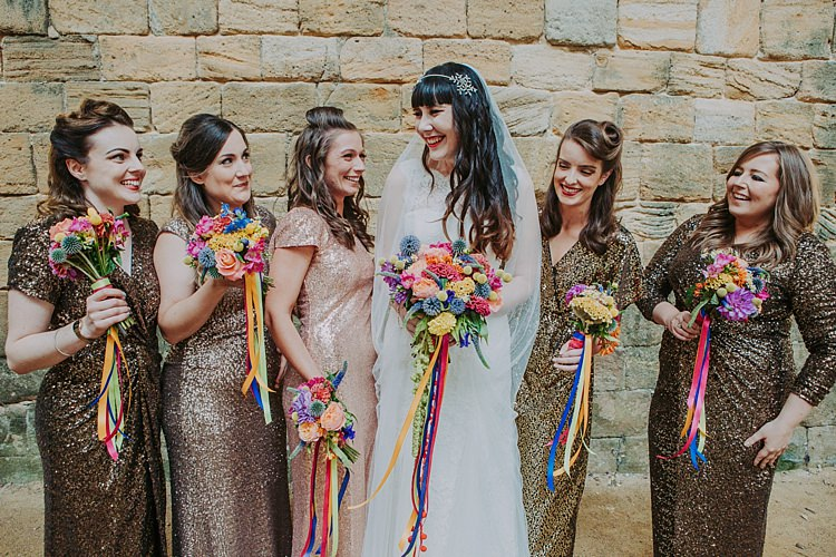 Sequin Bridesmaid Dresses Gold Long Colourful Indie Dinosaur Wedding http://bloomweddings.co.uk/