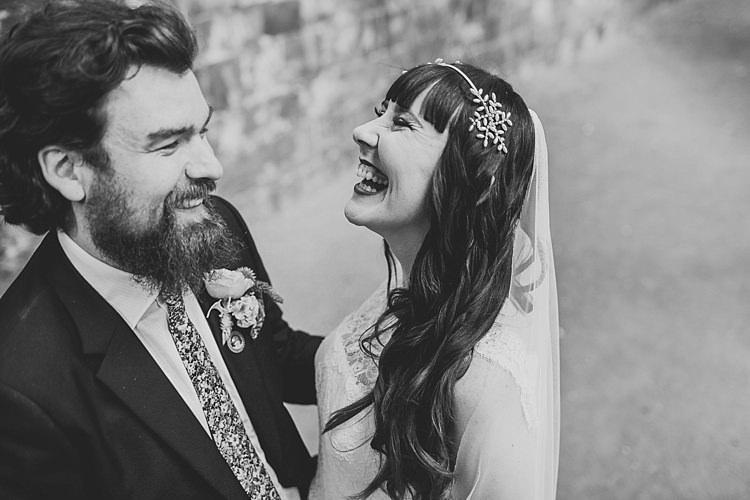 Long Hair Bride Bangs Fringe Hair Band Veil Colourful Indie Dinosaur Wedding http://bloomweddings.co.uk/
