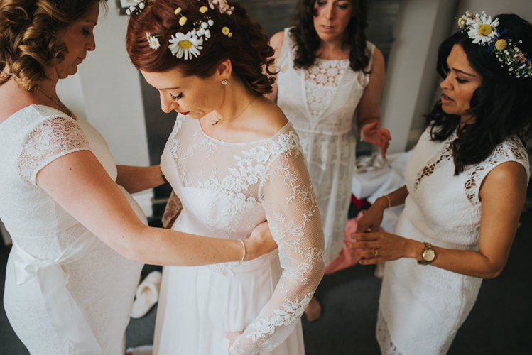 White Lace Bridesmaid Dresses Daisy Flower Crown Multicoloured Crafty Carnival Wedding http://alicethecamera.co.uk/