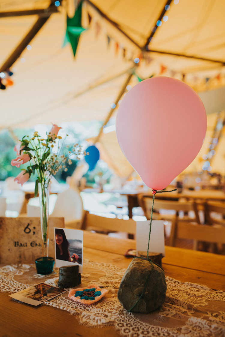 Balloon Table Decor Lace Flowers Rustic Multicoloured Crafty Carnival Wedding http://alicethecamera.co.uk/