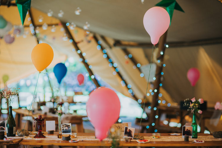 Tipi Balloons Fairy Lights Multicoloured Crafty Carnival Wedding http://alicethecamera.co.uk/