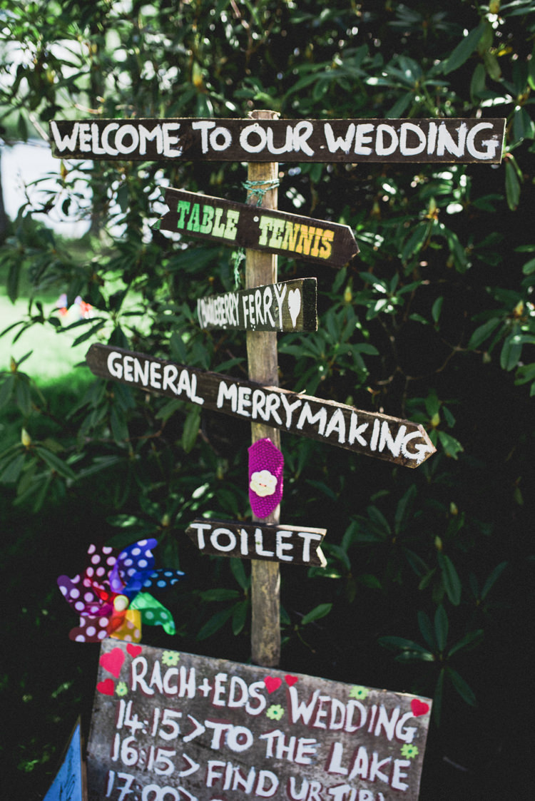 Rustic Wooden Sign Post Multicoloured Crafty Carnival Wedding http://alicethecamera.co.uk/