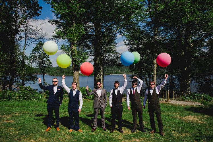Mismatched Groomsmen Waistcoats Balloons Multicoloured Crafty Carnival Wedding http://alicethecamera.co.uk/
