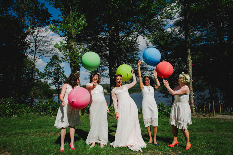 Mismatched White Bridesmaid Dresses Balloons Multicoloured Crafty Carnival Wedding http://alicethecamera.co.uk/