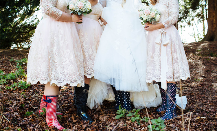 Wellies Bride Bridesmaids Enchanted English Country Garden Wedding Disney http://lauradebourdephotography.com/