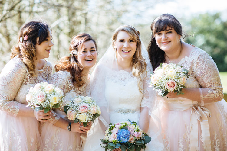 Lace Bridesmaid Dresses Sleeves Enchanted English Country Garden Wedding Disney http://lauradebourdephotography.com/