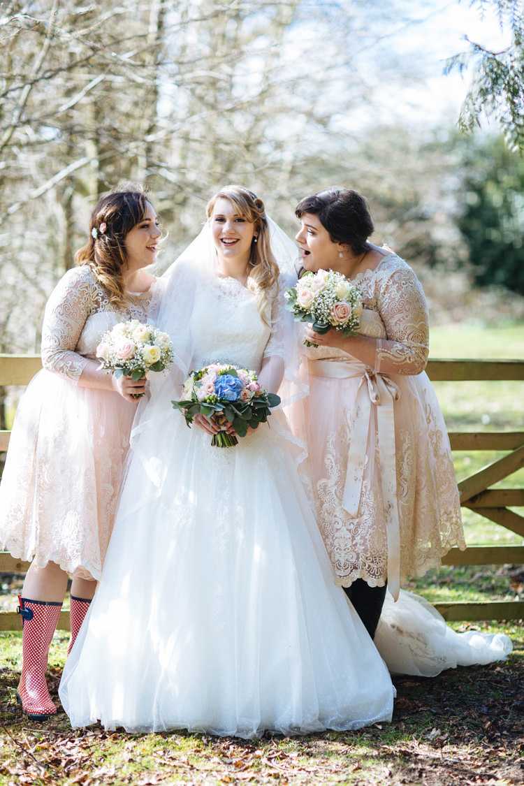 Blush Lace Sleeves Bridesmaid Dresses Chi Chi London Enchanted English Country Garden Wedding Disney http://lauradebourdephotography.com/