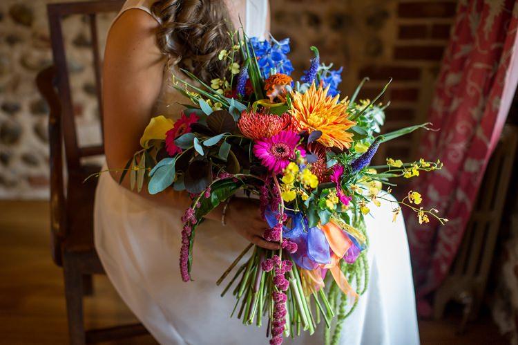 Rainbow Bouquet Gerbera Dahlia Bride Bridal Flowers Mexican Inspired Colourful Cactus Wedding http://katherineashdown.co.uk/