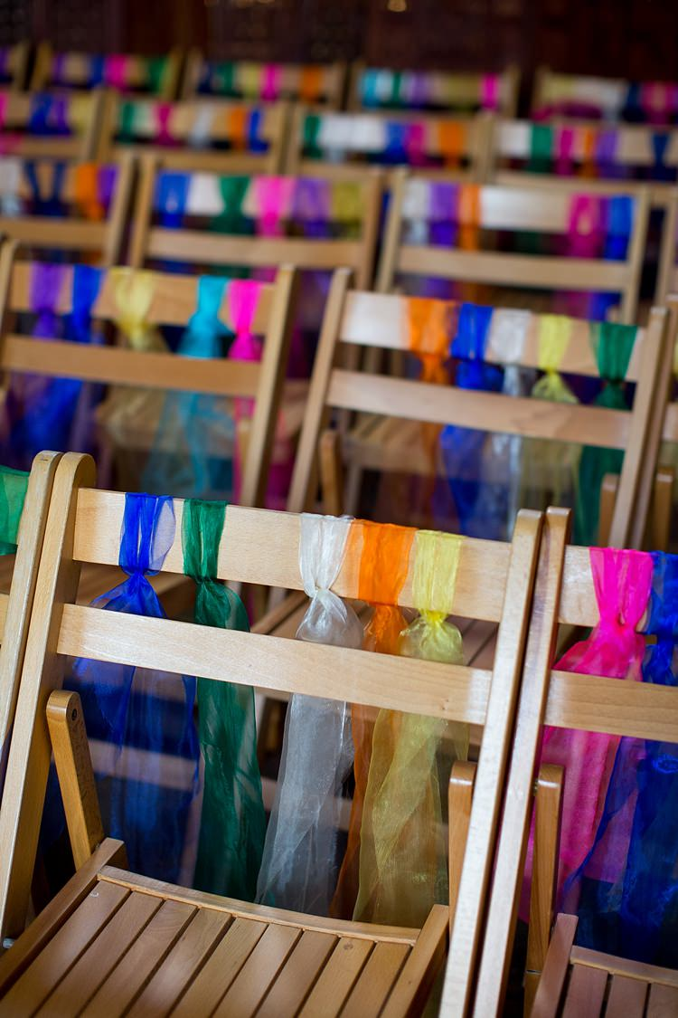 Chair Ribbons Decor Mexican Inspired Colourful Cactus Wedding http://katherineashdown.co.uk/