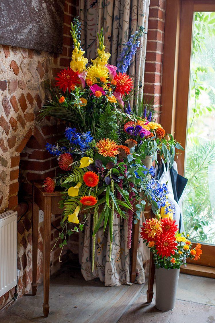 Rainbow Flowers Ceremony Aisle Decor Arrangement Mexican Inspired Colourful Cactus Wedding http://katherineashdown.co.uk/