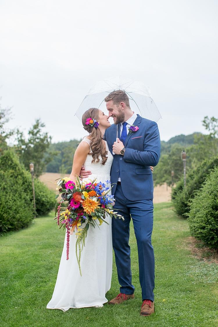 Rainy Umbrella Bride Groom Mexican Inspired Colourful Cactus Wedding http://katherineashdown.co.uk/