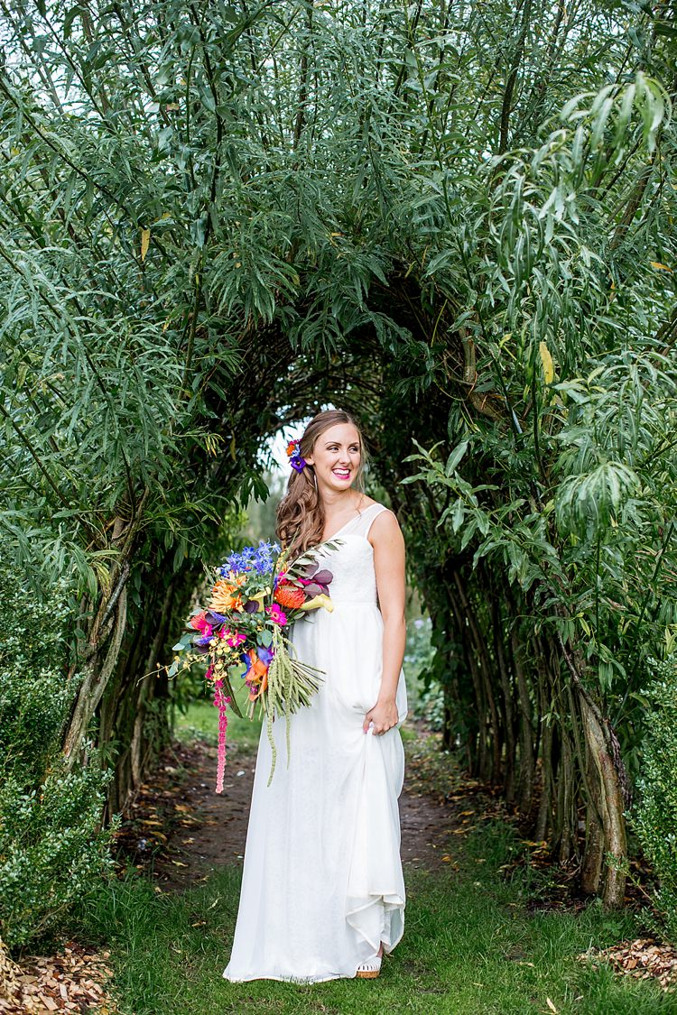 Elegant Gown Bride Bridal Dress Mexican Inspired Colourful Cactus Wedding http://katherineashdown.co.uk/