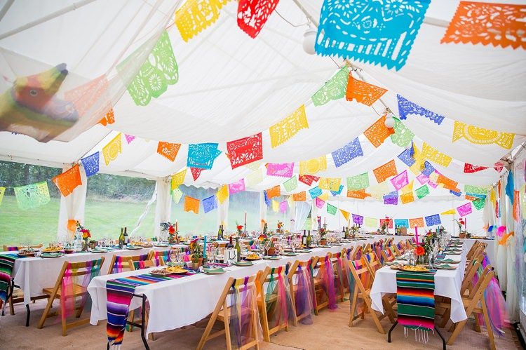 Papel Picado Marquee Bunting Decor Mexican Inspired Colourful Cactus Wedding http://katherineashdown.co.uk/