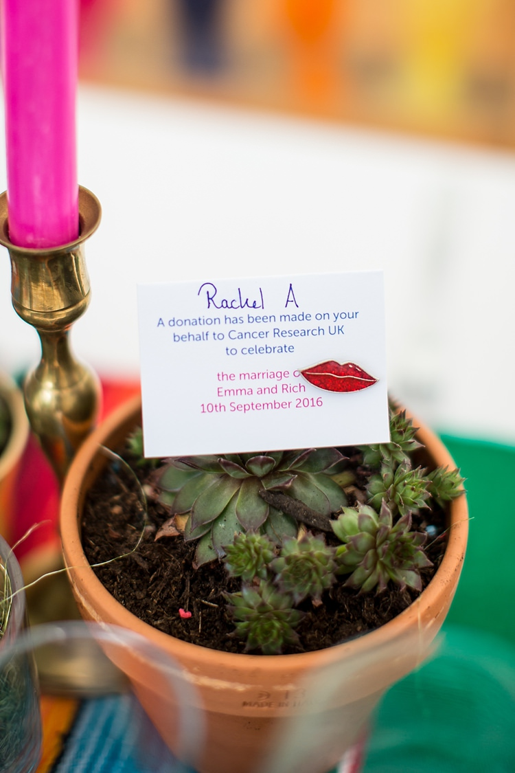 Cancer Research Charity Favour Mexican Inspired Colourful Cactus Wedding http://katherineashdown.co.uk/