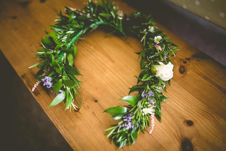 Flower Crown Bride Bridal Grennery Rustic Bohemian DIY Barn Wedding http://lovethatsmilephotography.com/